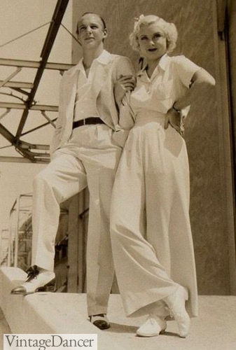 1930s summer whites both women and men in flannel pants