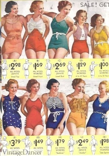 1930s bathingsuits, swimsuits
