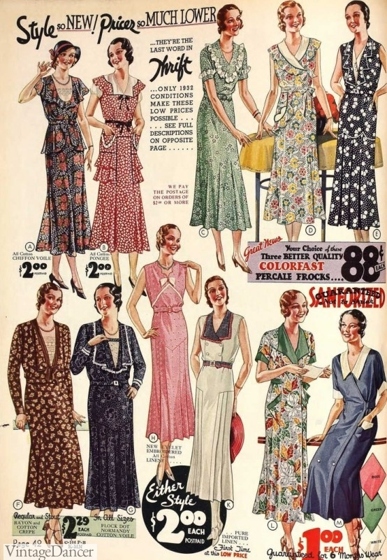1930s dresses floral prints catalog