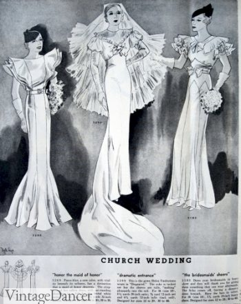 1933 bride and bridesmaids in floor length dresses