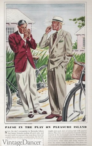 1937 maroon sport coat over cream pants