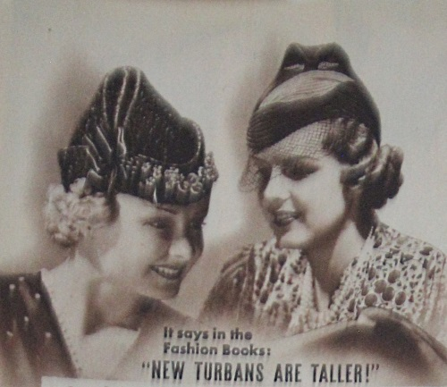 1937 turban hats made of straw and felt