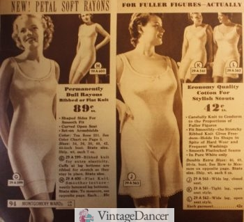 1937 Ribbed knit cotton step-in underwear