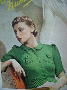 1938 Sweater with fancy weave designs