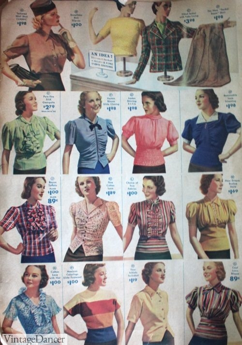 1938 knit tops and blouses
