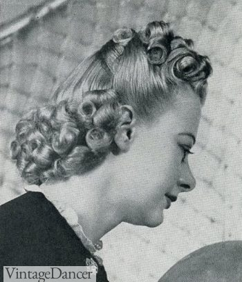 1939 tight curls for a half up half down hair style
