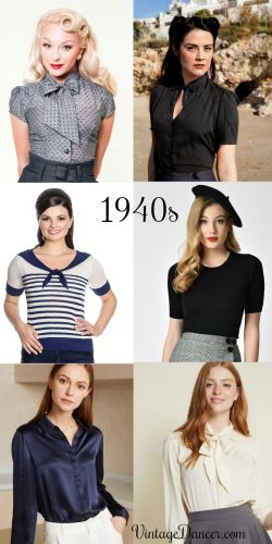1940s style blouses, tops, shirts short sleeve sweaters at #vintagedancer