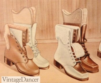 1940s swnow boots, winter boots, sheerling tops