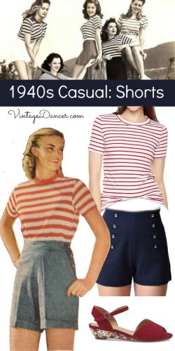 1940s causal outfit with shorts