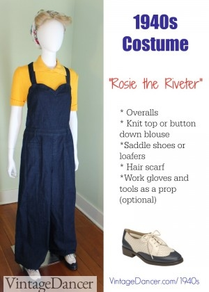 "1940s ""Rosie"" costume with overalls. Click to create this look."