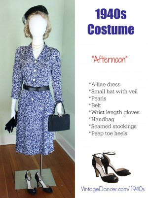1940s costume afternoon dress at vintagedancer.com