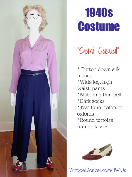 A 1940s semi casual look with pants. See more 1940s outfit ideas at VintageDancer.com
