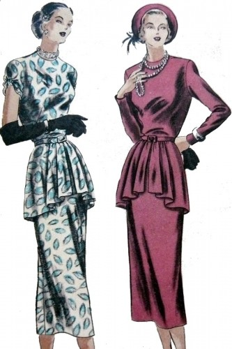 1940s fashion peplum dresses