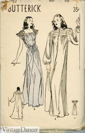 1940s Flannel Winter Nightgown pattern