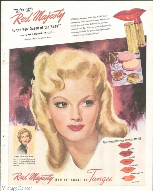 "1940s lipstick makeup ad - ""Red Majesty"" by Tangee lipstick"
