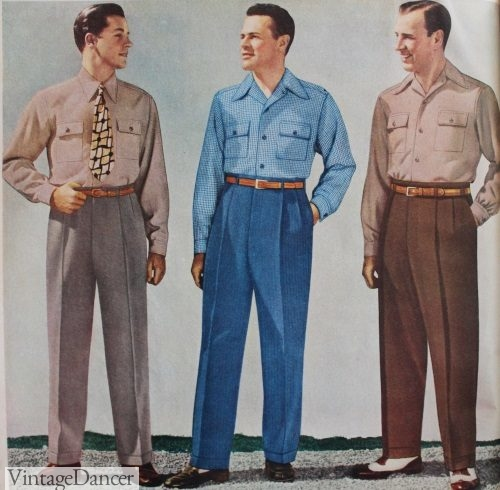1940s Men's Casual Clothing- Shirts, Trousers, Pullover Vests