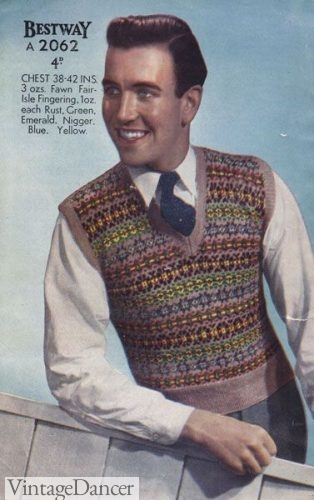 1940s men's fair isle sweater vest
