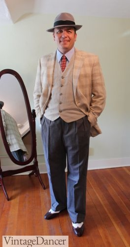 1940s men's outfit idea, costume, semi casual style