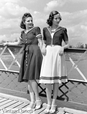 1940s nautical sailor style dresses