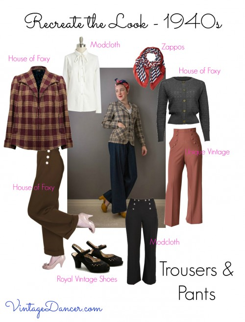 Perfect trousers for a 1940s style paired with blouses or sweaters and fab shoes. VintageDancer.com/1940s