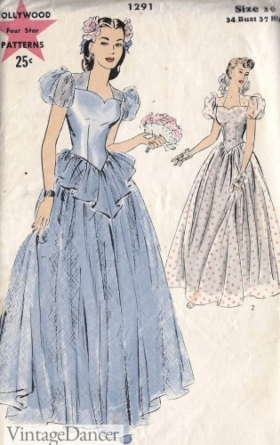 1940s formal prom or wedding dress