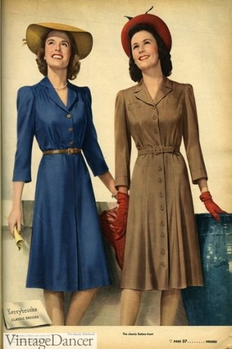 Simple, practical, 1940s shirtwaist dresses