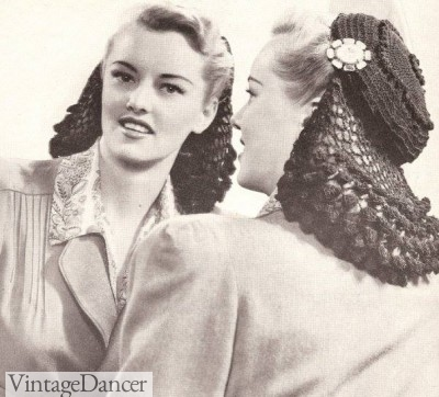 A 1940s 1940s Snood with an open crown.