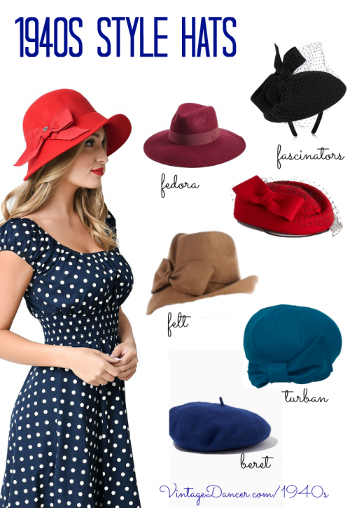 New women's hats inspired by 1940s hat fashions. Fedora, turban, beret, felt hats, and fascinators. Find these and more at VintageDancer.com