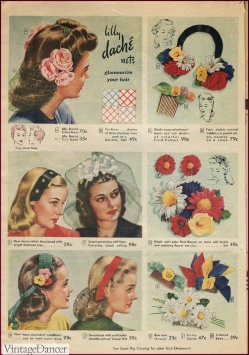 1940s hair flowers, veils, headbands, hair clips and hair combs designed for teenagers although women could have worn these as well.