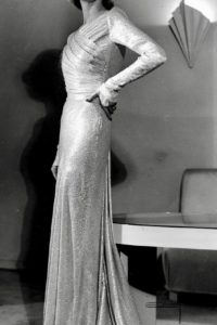 1941 gold draped formal dress