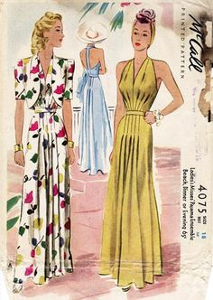 1941 long evening dresses