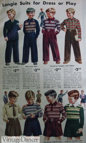 1942 boys pants and knit sweaters, shirts