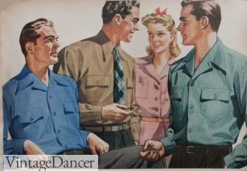 1940s men's casual shirts