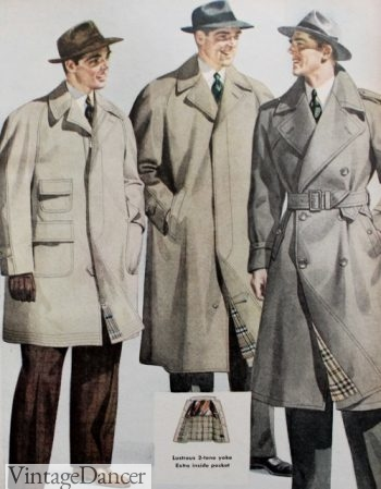 1940s men's light coats- Duster (L) and Trench (R)