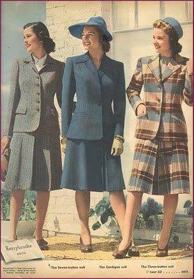 1940s women's winter suits, wool. Love that plaid! 1942