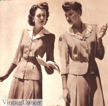 1943 collarless women's suits
