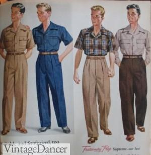 1940s teenager boys pants shirts sporty and casual