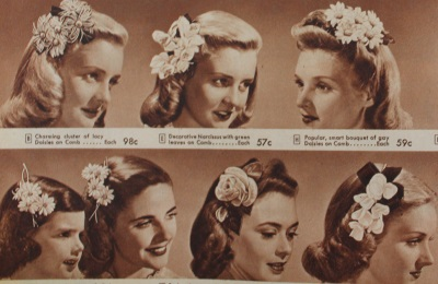1940s vintage hair accessories. Hair flowers from 1944.