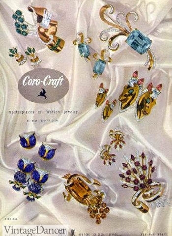 1940s jewelry trends: 1944 Coro Jewelry of colored flowers, animals, insets