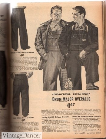 1940s mens workwear. 1944 overalls and denim pants