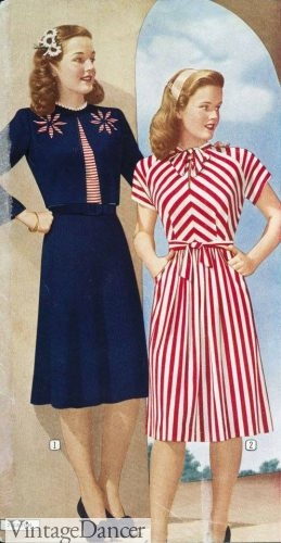1945 blue, red and white themed dresses.