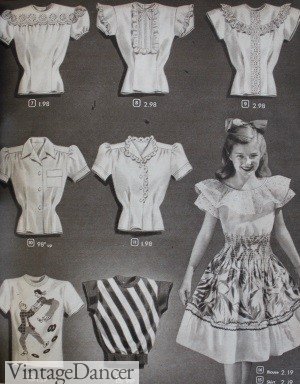 1940s teen blouses tops shirts