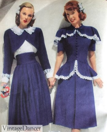 1940s bolero jacket (L) and peplum style jacket suits (R). 1948