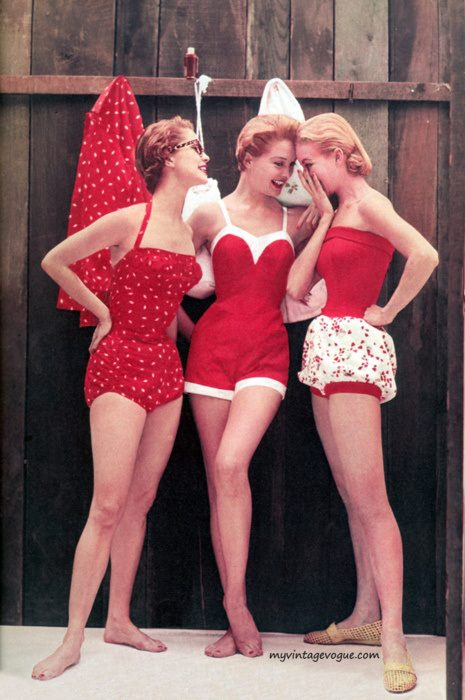 1950s 60s swimsuits red
