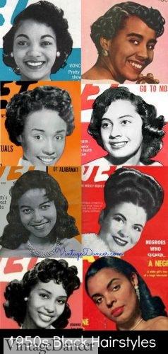 1950s African American Hairstyles, women's 50s black hairstyles