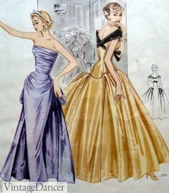 50s formal gold satin ballgown and purple tube evening gown