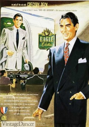 1950s mens summer suit fashions by Eagle Clothes featuring Gregory Peck
