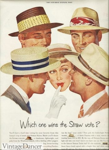 1950s men's straw hat styles