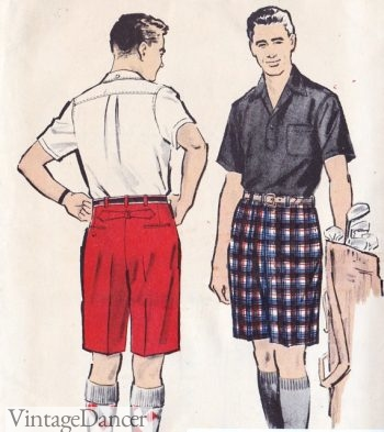 1950s mens walk shorts (bermuda length)