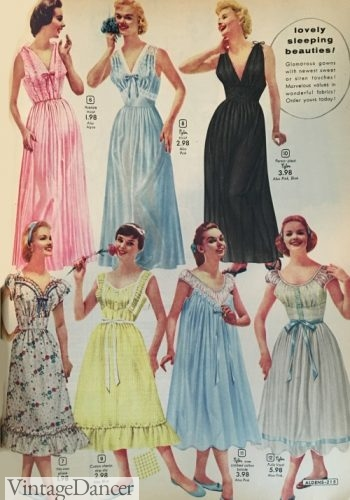 1950s nightgowns. Long or tea length, sleeveless or cap sleeved with empire waists and lace trim.